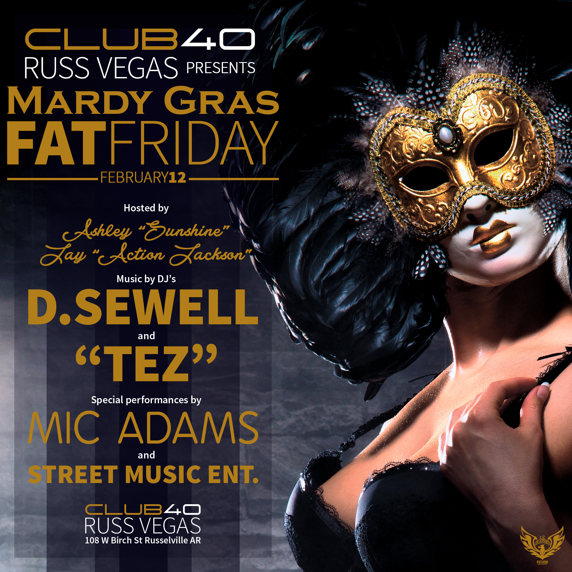 Club 40 - Mardy Gras Fat Friday (special live performance by Mic Adams) flyer