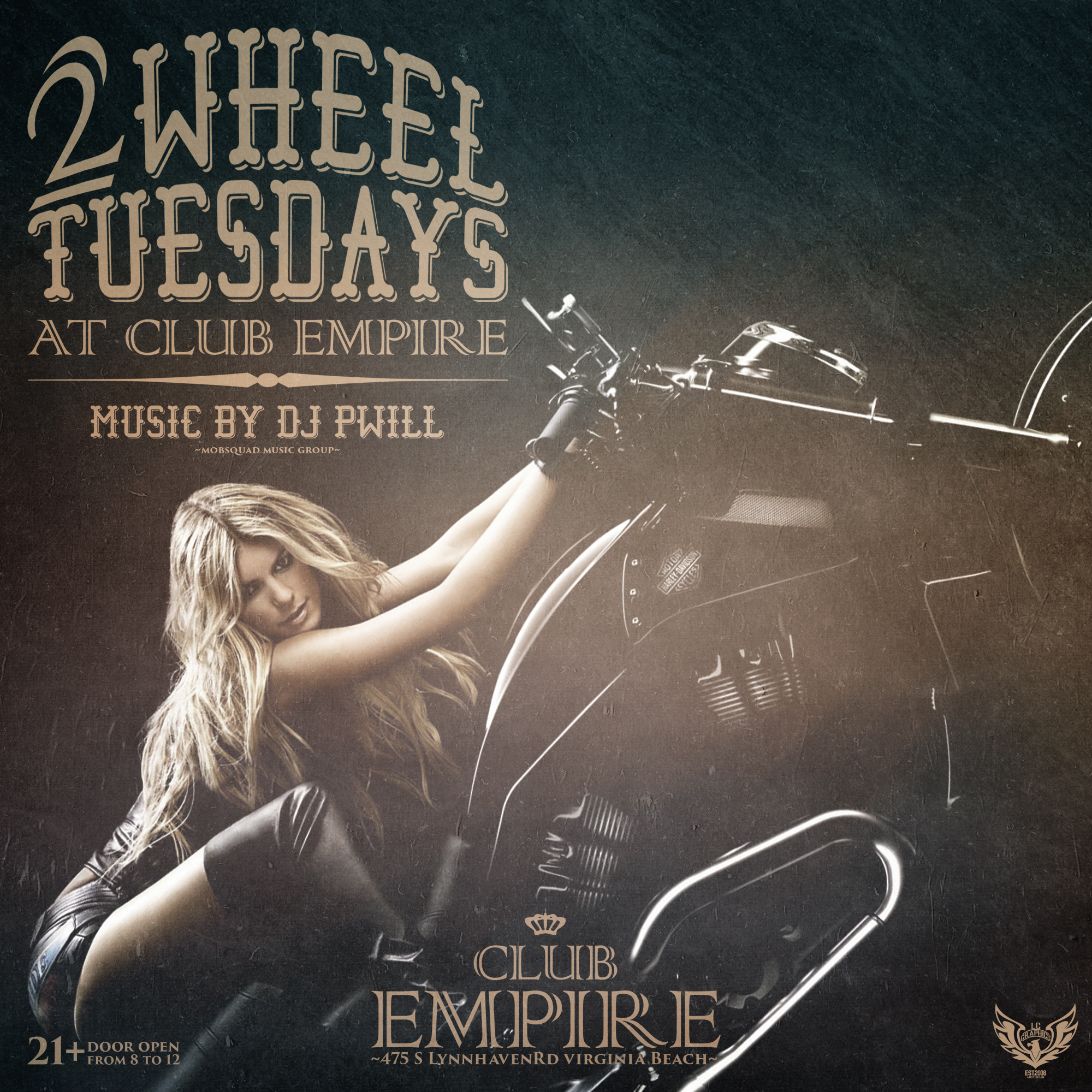 Club Empire - 2Wheel Tuesdays (music by DJ PWill) flyer (byLCGraphics)